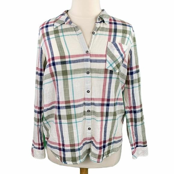 Natural Reflections Olive Plaid Button Front Shirt